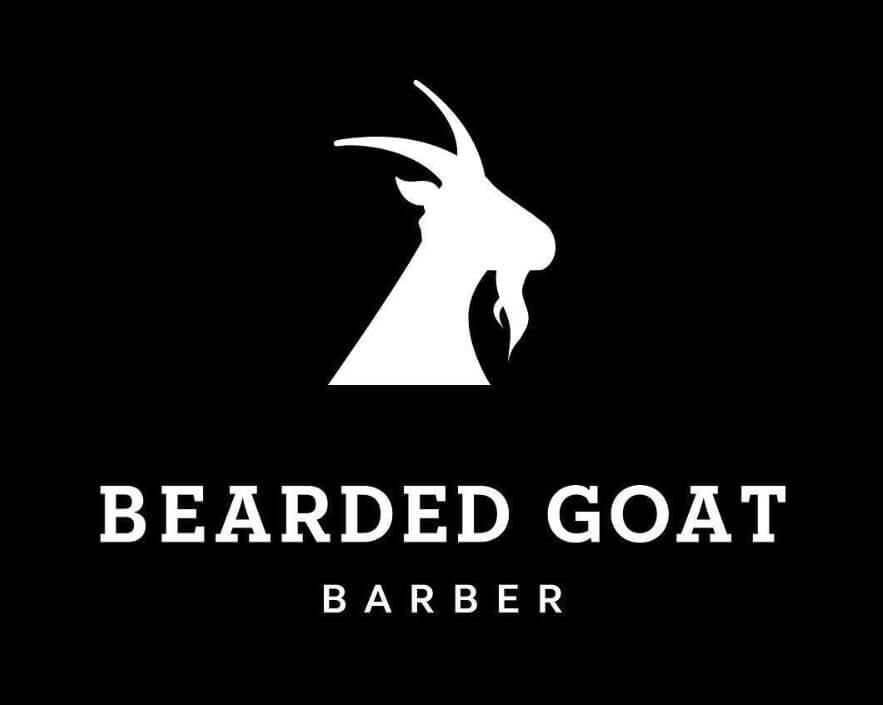 Bearded Goat Barber Logo with black background
